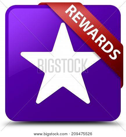Rewards (star Icon) Purple Square Button Red Ribbon In Corner