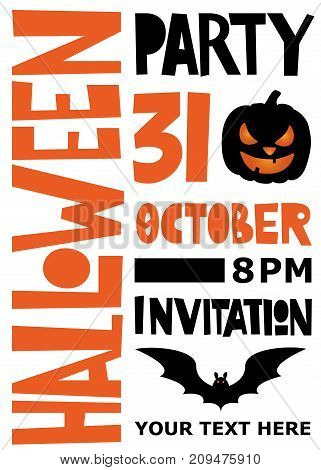 Halloween party poster. Lettering