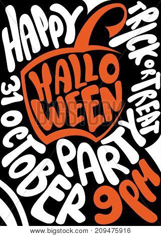 Handwritten poster for Halloween party. Lettering