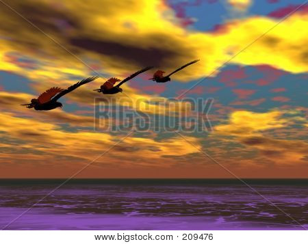 three eagles flying in the distance poster