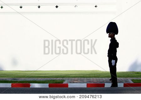 Bangkok-Thailand: October 15 2017 Silhouette Royal Thai Army on white wall background in the funeral of King Bhumibol Adulyadej (King Rama 9) At Sanam Luang