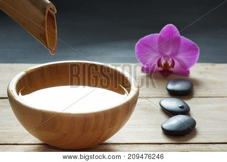 Set For Spa Procedures, Stones For Hot Massage And Flavored Water, Recruited From A Bamboo Stem Into