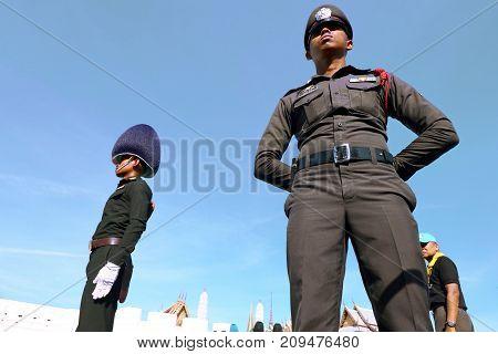 Bangkok-Thailand: October 15 2017 Police and Royal Thai Army in the funeral of King Bhumibol Adulyadej (King Rama 9) At Sanam Luang