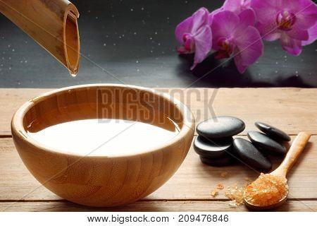 A Set For Spa Procedures, Hot Massage Stones, Bath Salts And Flavored Water Collected From A Bamboo