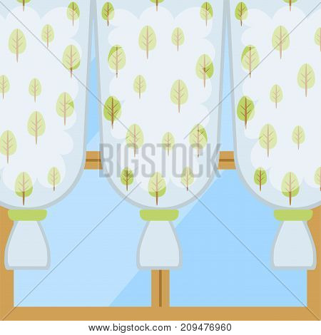 Window curtains and room blinds set. Jalousie for house or creative home interior vector illustration. Style apartment drape fabric classic home decor.