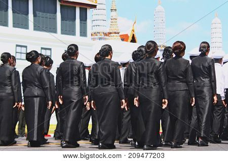 Bangkok-Thailand: October 15 2017 The Motion of many people to prepare for attend the funeral of King Bhumibol Adulyadej (King Rama 9) At Sanam Luang