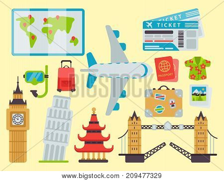 Airport travel icons flat vector illustration. Tourism suitcase passport luggage plane transportation. Holiday cruise ticket business world architecture.