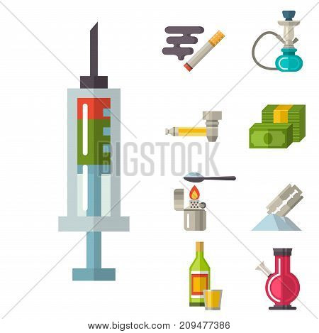 Medical drugs icons set vector. Laboratory science alcohol clinic medication web ambulance sign. Chemical addiction drink aid cure. Health damage symbol.