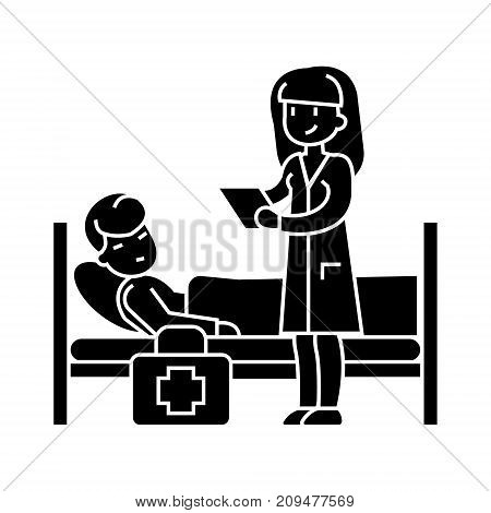 nurse and patient icon, illustration, vector sign on isolated background
