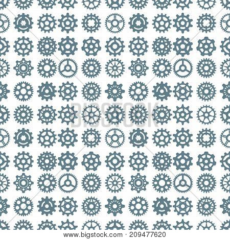Vector gears icons seamless pattern background machine wheel mechanism machinery mechanical technology technical sign. Engineering symbol round element technical cog equipment.