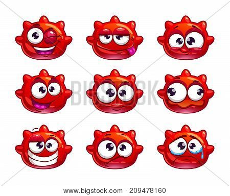 Funny cartoon red jelly monster with different emotions. Vector icons, isolated on white background.