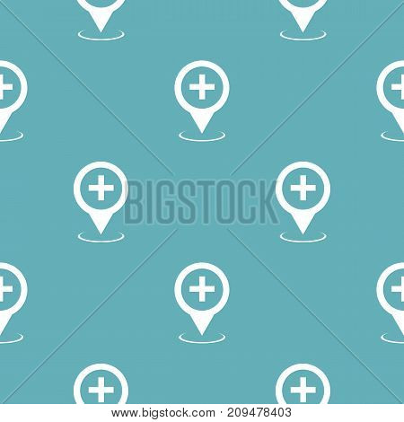 Hospital map pointer pattern seamless blue. Simple illustration of  vector pattern seamless geometric repeat background