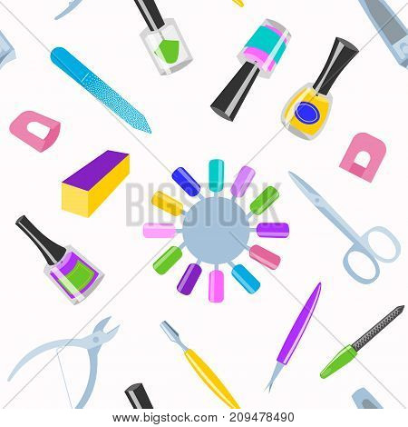 Manicure and pedicure foot hand health beauty fashion care fingers instruments vector personal cosmetics equipment seamless pattern background.