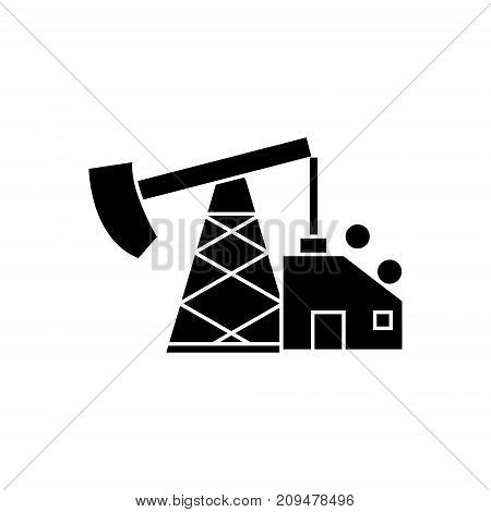 oil pump jack icon, illustration, vector sign on isolated background