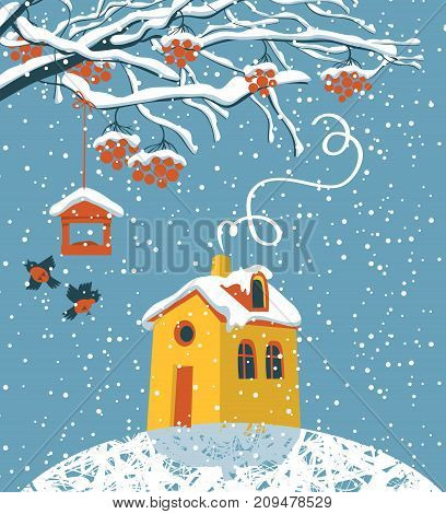 Vector winter landscape with snow-covered branches and red clusters of Rowan bullfinches and a bird feeder the yellow house in the snow in flat style