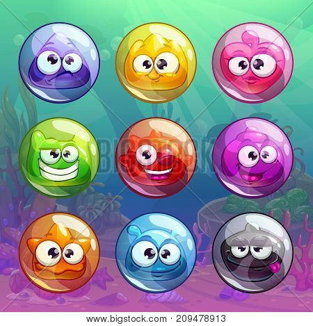 Colorful transparent bubbles with funny characters inside. Vector assets for GUI design. Funny game icons.