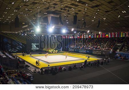 KYIV, UKRAINE - MARCH 17, 2017: Sports Palace during Deriugina Cup Grand Prix (Rhythmic Gymnastics International Tournament)