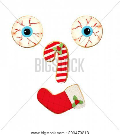 Funny Christmas cookies isolated on a white background