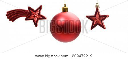 Christmas decoration in red. Stars and ball isolated on a white background