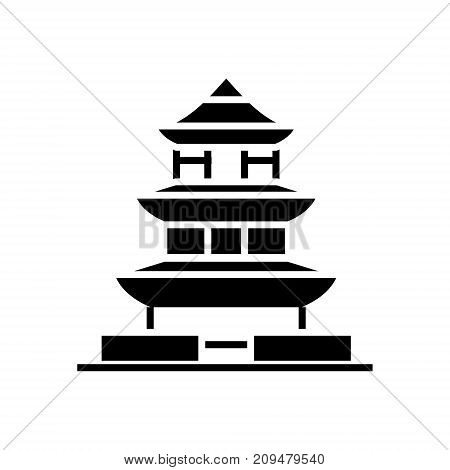 pagoda - japan icon, illustration, vector sign on isolated background