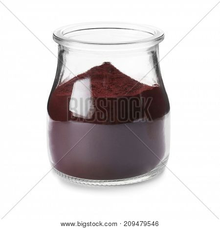 Acai powder in jar, isolated on white