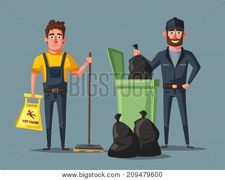 Cleaning staff character with cleaning equipment. Cartoon vector illustration. Cleaning company, service. Man in uniform. Professional cleaner.