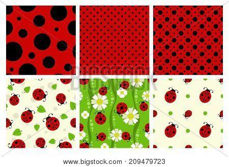 Ladybug patterns set. Vector cute ladybird textures
