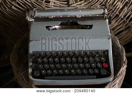 old typewriter with manual keys now antique object