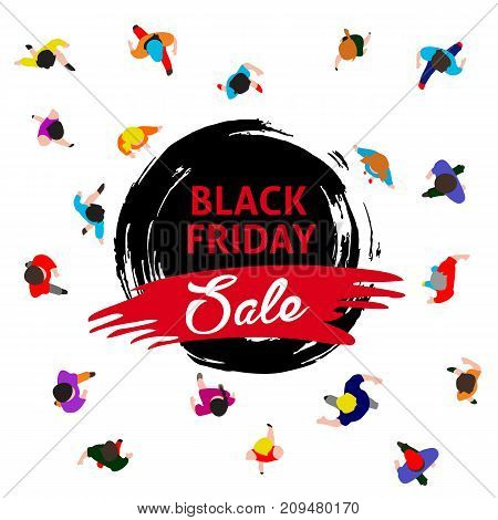 Black friday promotional banner top view people walk and run to sale event vector template