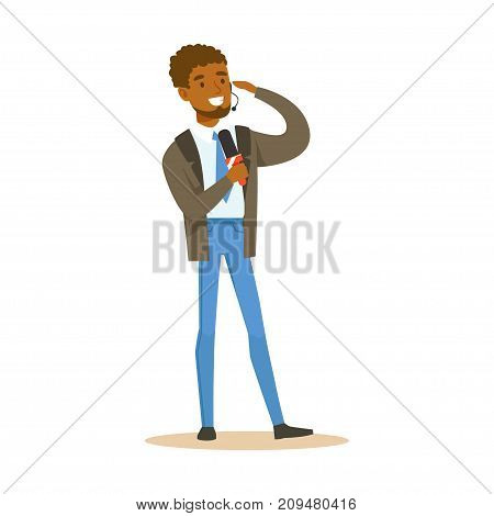 Young cheerful black man breaking news reporter speaks into microphone. Cartoon male journalist character concept. TV people at work. Vector illustration in flat style isolated on white background.