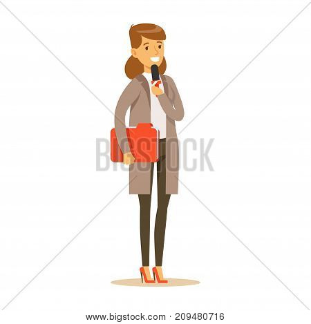 Young cheerful woman journalist with folder speaks into microphone. Cartoon female journalist character concept. TV people at work. Vector illustration in flat style isolated on white background.