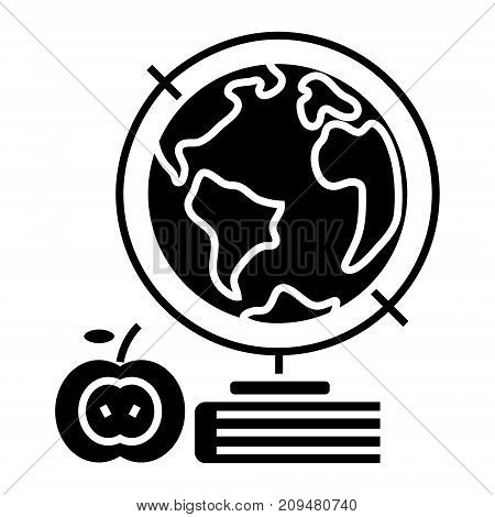 knowledge - book - apple - globus - globe icon, illustration, vector sign on isolated background