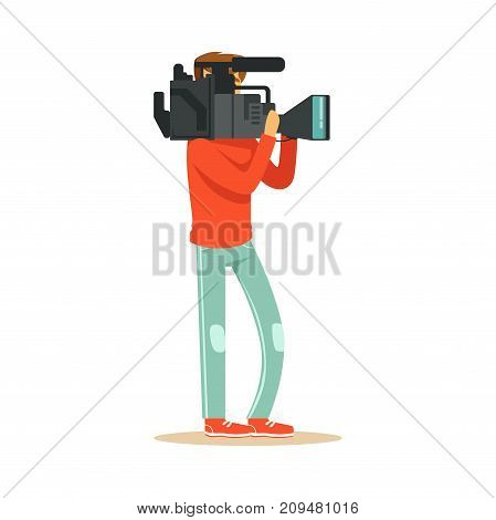 TV videographer standing with professional camera and recording news material. Film crew member. Cartoon camera man character. TV people at work. Flat vector illustration isolated on white background.