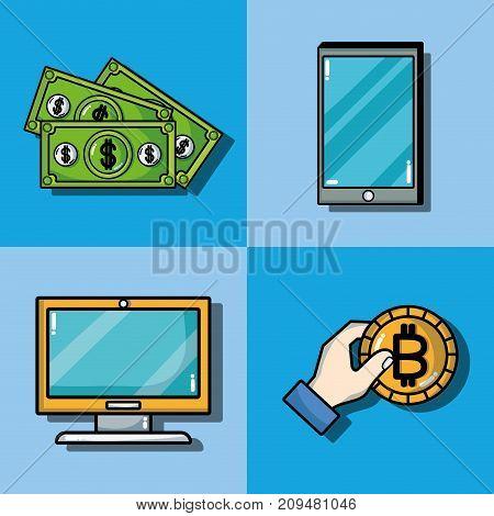 set blockchain security technology with data center vector illustration