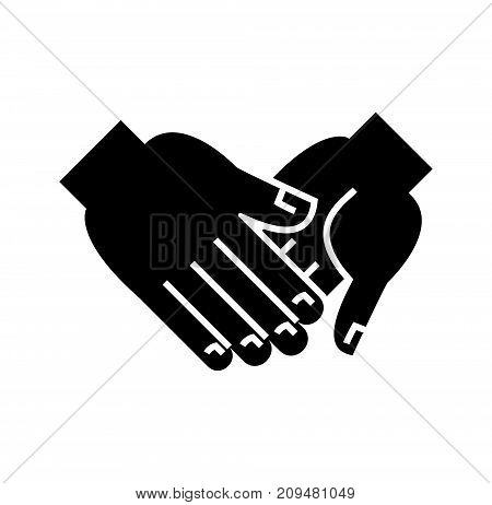 hand in hand icon, illustration, vector sign on isolated background