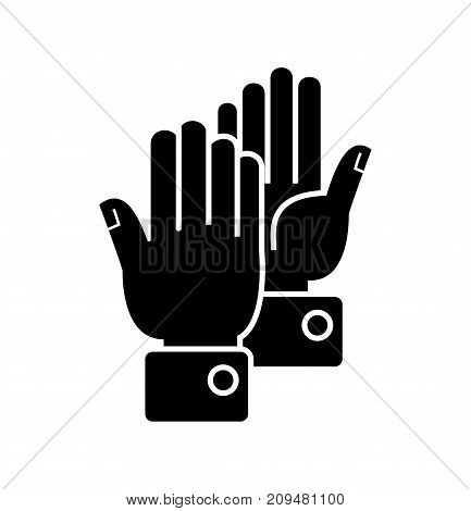 hands clapping icon, illustration, vector sign on isolated background