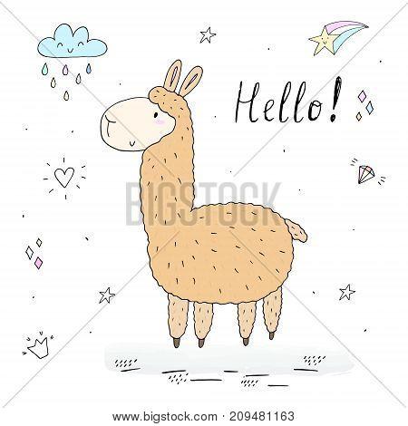 Hello card with Cute hand drawn funny llama. vector print.