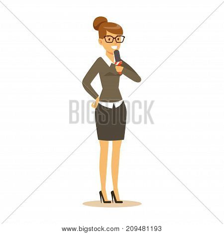 Cheerful woman journalist in classic suit speaks into microphone. Cartoon female correspondent character concept. TV people at work. Vector illustration in flat style isolated on white background.