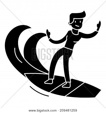 man surfing icon, illustration, vector sign on isolated background