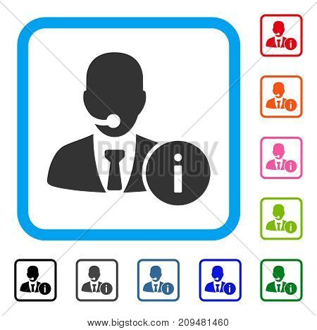 Help Desk Manager icon. Flat gray pictogram symbol in a light blue rounded squared frame. Black, gray, green, blue, red, orange color versions of Help Desk Manager vector.