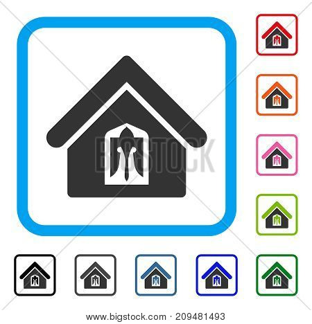 Home icon. Flat grey pictogram symbol in a light blue rounded squared frame. Black, gray, green, blue, red, orange color variants of Home vector. Designed for web and app user interface.
