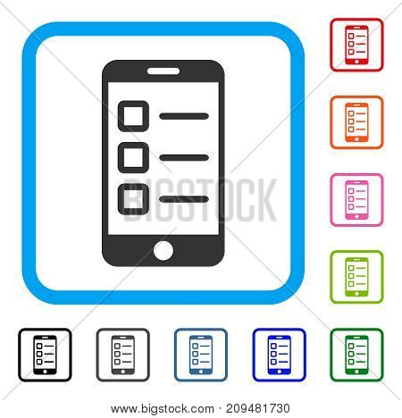Mobile Test icon. Flat gray pictogram symbol in a light blue rounded rectangle. Black, gray, green, blue, red, orange color variants of Mobile Test vector.