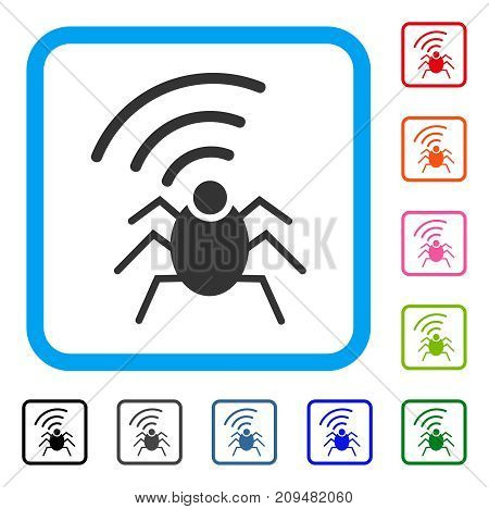 Radio Spy Bug icon. Flat grey pictogram symbol inside a light blue rounded squared frame. Black, gray, green, blue, red, orange color versions of Radio Spy Bug vector.