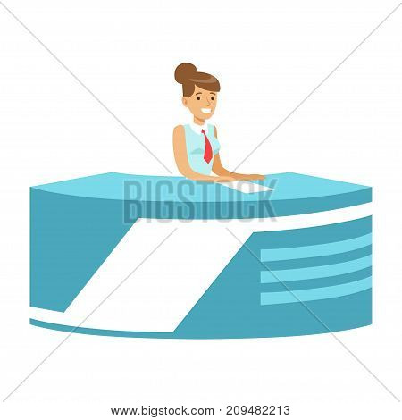 Young smiling woman news presenter in broadcasting studio. Cartoon female reporter character concept. TV people at workplace. Vector illustration in flat style isolated on white background.
