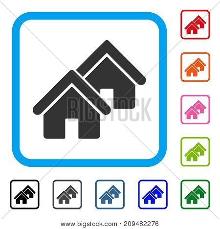 Realty icon. Flat gray iconic symbol inside a light blue rounded square. Black, gray, green, blue, red, orange color versions of Realty vector. Designed for web and software interfaces.