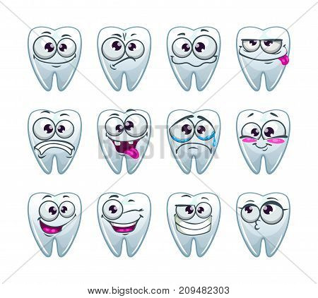 Cartoon teeth characters with different emotions. Vector tooth icons set.