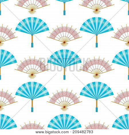 Hand paper fan vector seamless pattern. Chinese or japanese beautiful fans isolated. Colorful asian souvenir fans illustration. Flat style