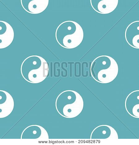 Ying yang symbol of harmony and balance pattern seamless blue. Simple illustration of  vector pattern seamless geometric repeat background