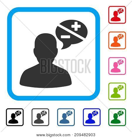 User Opinion icon. Flat grey pictogram symbol inside a light blue rounded rectangle. Black, gray, green, blue, red, orange color versions of User Opinion vector. Designed for web and application UI.