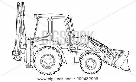Illustration vector hand drawn of excavator grader machine